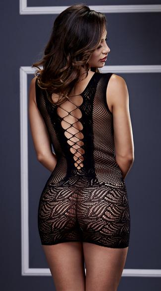 Corset Style Fishnet and Lace Mini Dress - Black
