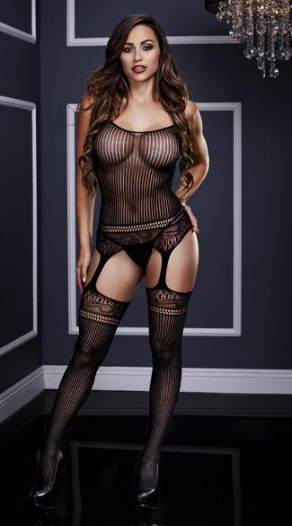 Striped Lace Suspender Bodystocking - Black
