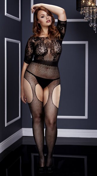 Plus Size Short Sleeve Fishnet Suspender Bodystocking - Black