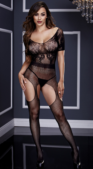 Short Sleeve Fishnet Suspender Bodystocking, Lace and Fishnet Bodystocking, Short Sleeve Bodystocking