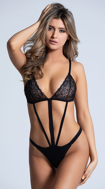 Strappy Black Lace Teddy - as shown