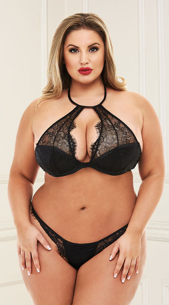 5bad968af Plus Size Allure Me Lace Halter Bra Set - Black ...
