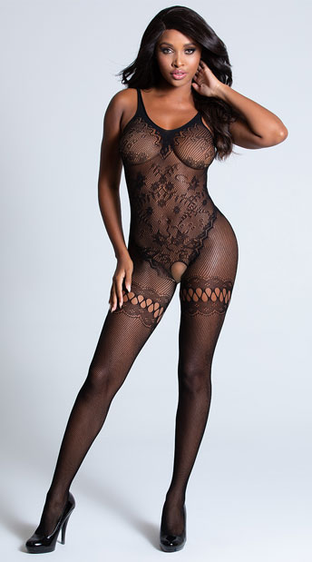 Intricate Fishnet Bodystocking - Black