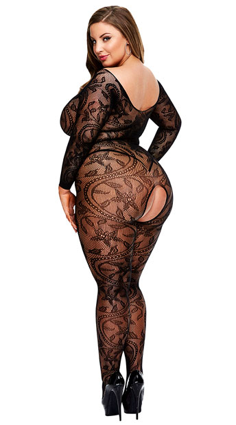 Plus Size Swirling Floral Lace Bodystocking - as shown