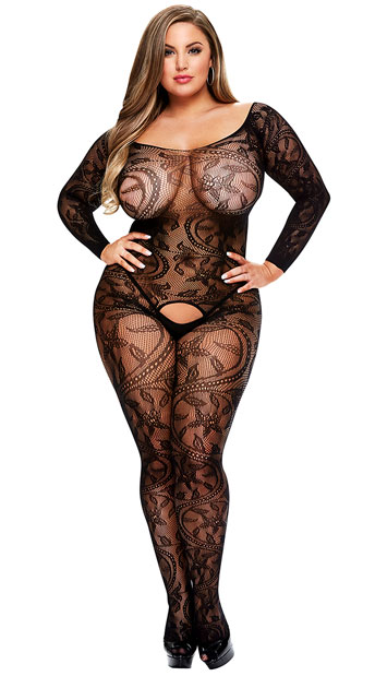 woman wearing a stretch bodystocking for plus size having no crotch