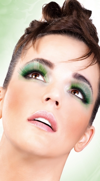 Light Green Glitter Eyelashes, Light Green Glitter False Eyelashes