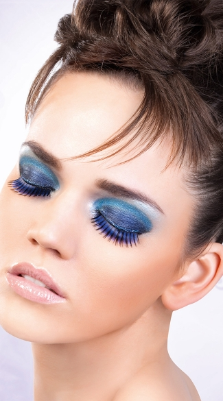 Blue and Purple Deluxe Eyelashes, Blue and Purple Fake Eyelashes