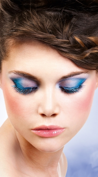 Blue and Black Deluxe Eyelashes, Blue and Black Fake Eyelashes