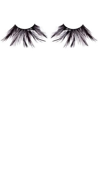 Exotic Black Feather Eyelashes - as shown
