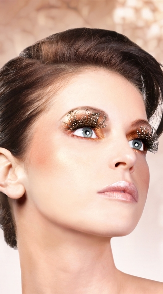 Classy Brown Polka Dot Feather Eyelashes - Brown