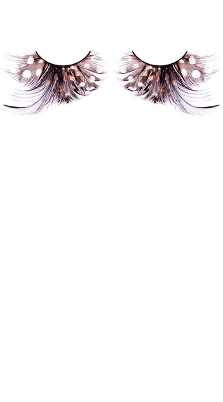 Black and Brown Polka Dot Feather Eyelashes - as shown