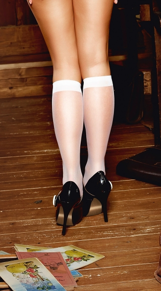 Sheer White Knee High Stockings - White