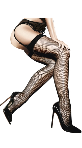 Fishnet Thigh High With Back Seam - Black
