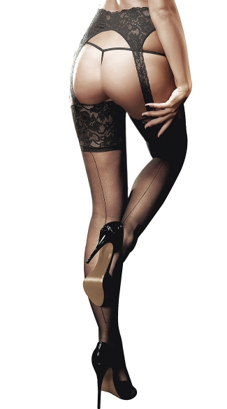 Sheer Lace Top Garter Hose with Back Seam - Black