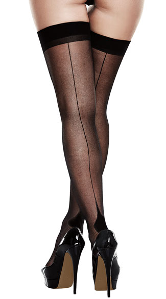 Plus Size Black Seamed Cuban Heel Thigh Highs - As Shown