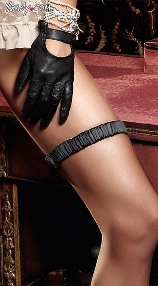 Black Satin Ruched Leg Garter - Black