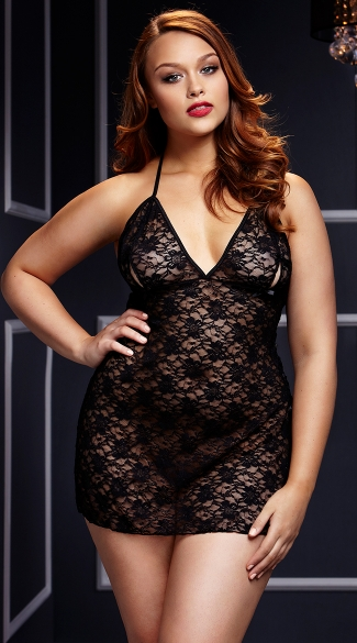 Plus Size Black Lace-Up Chemise - Black