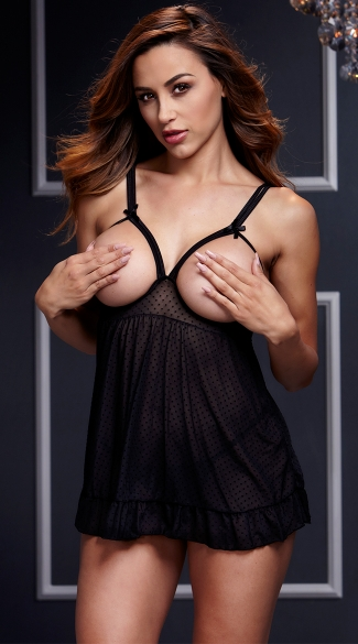 Sheer Open Cup Babydoll and Panty - as shown