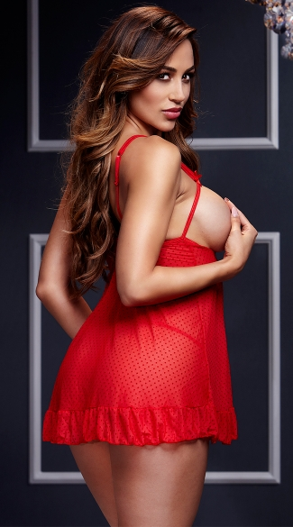 Sheer Open Cup Babydoll and Panty - Red
