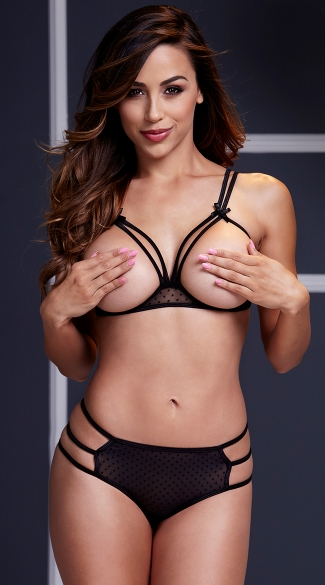 Strappy Open Cup Mesh Bra and Panty Set - Black