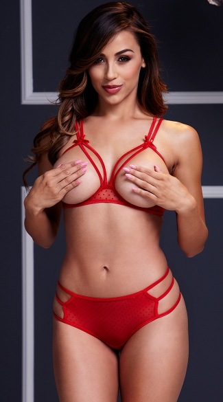 Strappy Open Cup Mesh Bra and Panty Set - Red