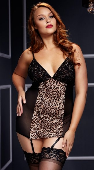 Plus Size Leopard Chemise with Garters, Plus Size Leopard Chemise, Plus Size Leopard Print Lingerie