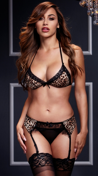 Leopard and Lace Bra, Garter, and Panty Set - Leopard