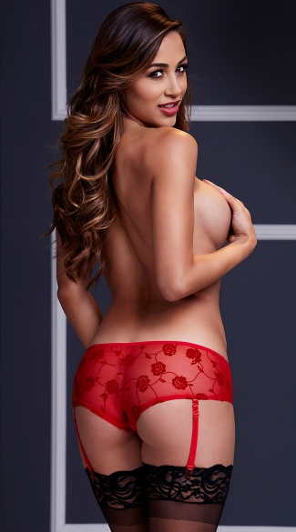 Rose Open Crotch Boyshort Panty - Red
