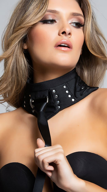 Soft Studded Choker with Ring - As Shown