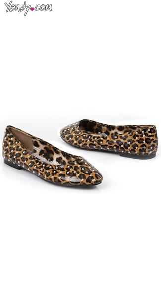 Silver Studded Leopard Flats - Leopard