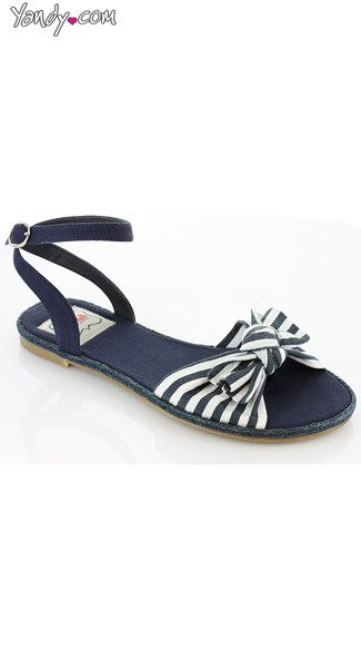 Nautical Stripe Canvas Sandal - Black