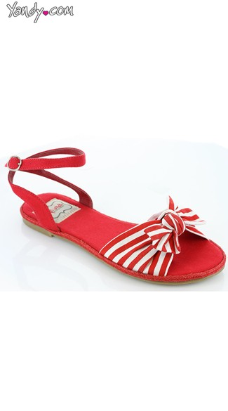 Nautical Stripe Canvas Sandal - Red