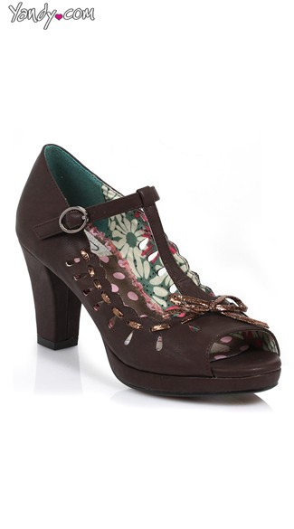 Cut Out Mary Jane T-Strap Heel - Brown