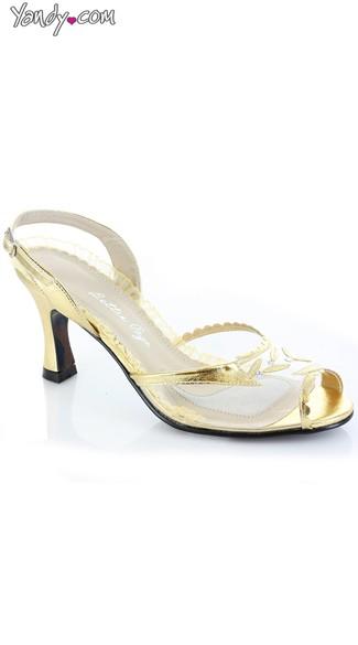 Clear Peep Toe Sling Back - Gold