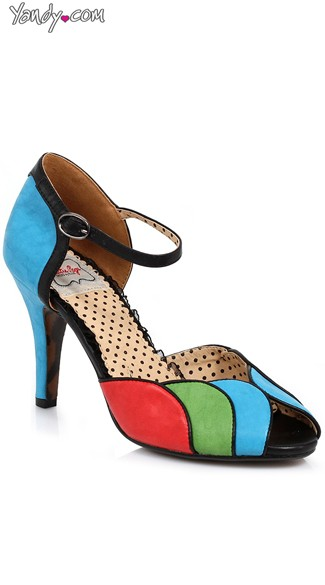 Retro Velvet Open Toed Pump - Blue Multi