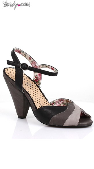 Strappy Multi-Colored Heel - Black