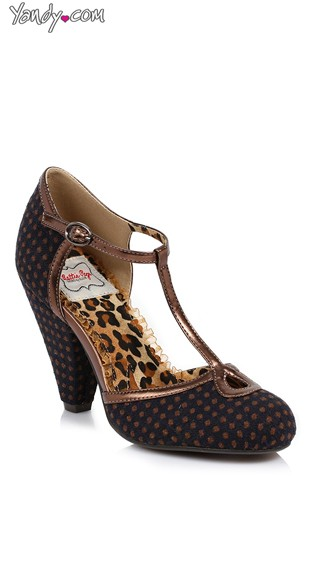 Dotted T-Strap Mary Jane Pump - Navy/Brown