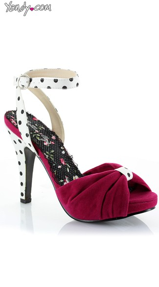 Polka Dot Pin-up Sandal - Fuchsia