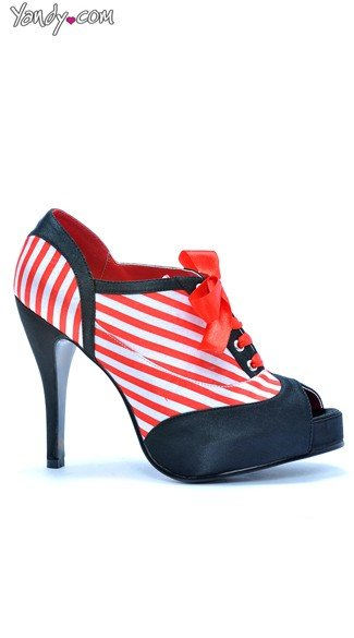 Open Toe Candy Cane Stripe Bootie - Black/Red