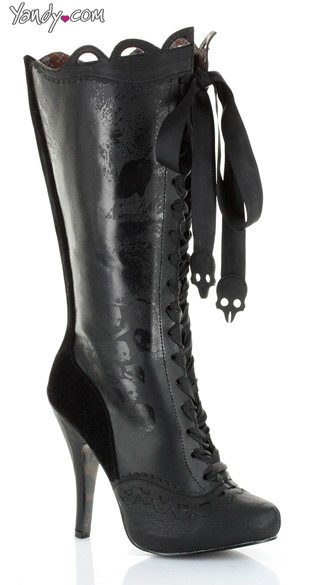 Victorian Mid-Calf Lace Up Boot - Black