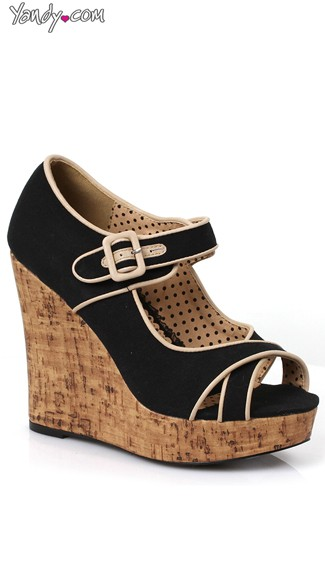 Contrasting Buckle Cork Wedge, Platform Cork Wedges, Sexy Sandals