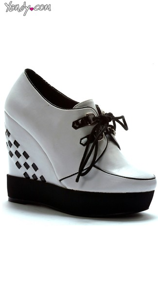 Lace Up Sneaker Wedge - White
