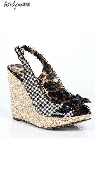 Gingham Espadrille Wedge with Bow, Summer Wedge Shoes, 4 Inch Heel