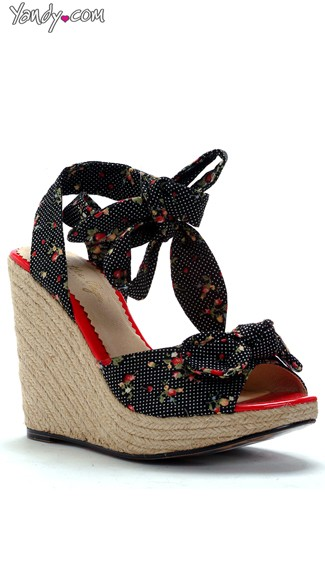 Strawberry And Polka Dot Daisy Wedge, Wedge Shoes For Women, Fashion Shoes Women