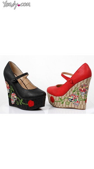 Skull Patterned Mary Jane Wedge - Red