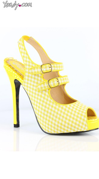 Double Strapped Gingham Peep Toe Pump - Yellow