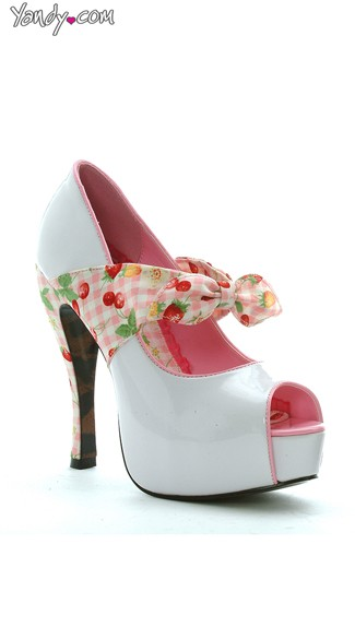 Cherry Accented Patent Platform Pump - White
