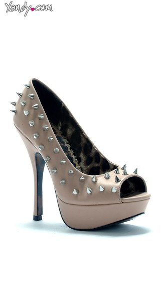 Spiked 5 Inch Open Toe Pump - Nude
