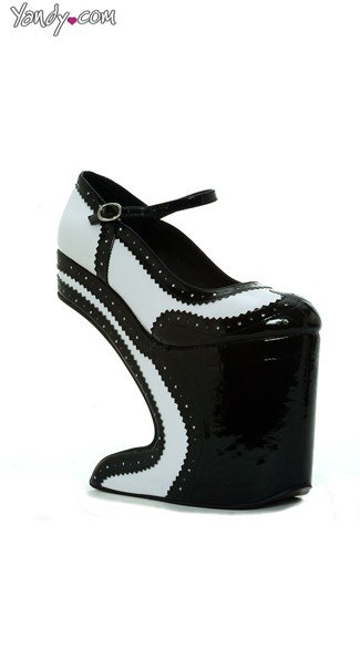 Tuxedo Mary Jane High-Rise Platform - White/Black