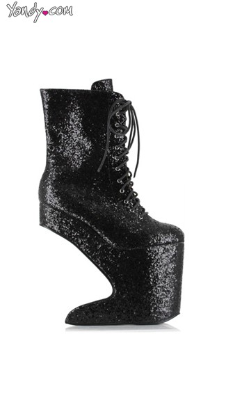 Glitter Lace Up Platform Bootie, High Platform Shoes, Glitter Platform Heels